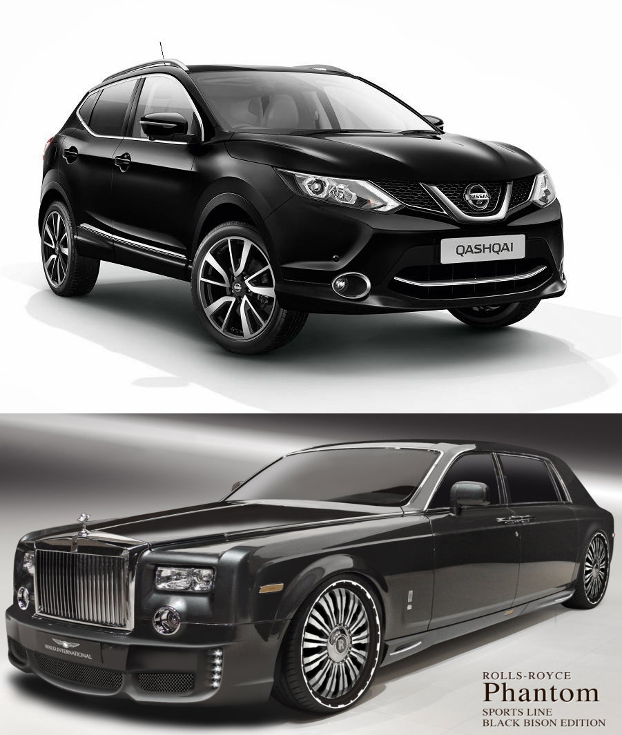 Nissan Qashqai and Rolls Royce Phantom